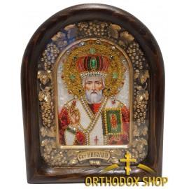 Дивеевская икона из бисера Николай Чудотворец, Освященная